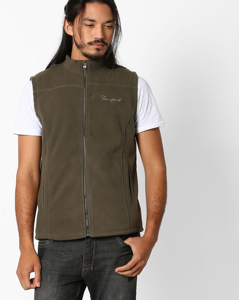 Panelled Front-Zip Sleeveless Jacket By TEAM SPIRIT ( Olive )