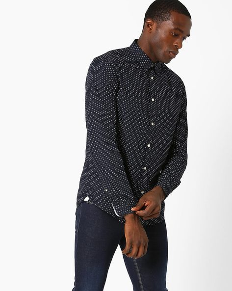 Printed Cotton Slim Fit Shirt By Celio ( Marine )