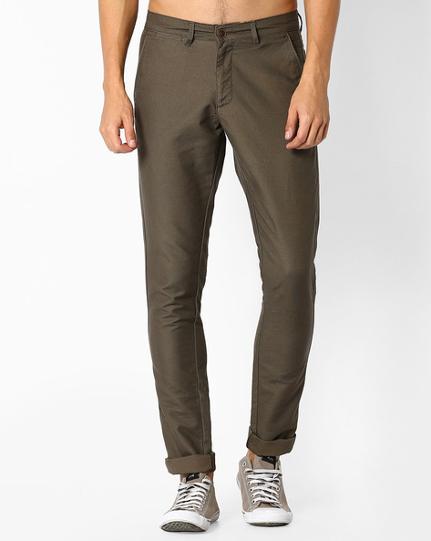 Cotton Flat-Front Chinos By NETPLAY ( Olive )