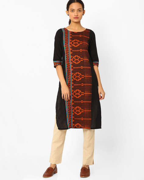 Straight Kurta With Embroidery By AURELIA ( Black )