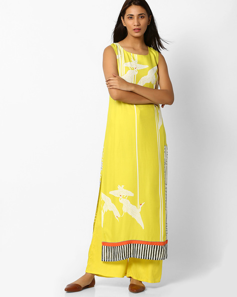 Graphic Print Straight Kurta With Panels By W ( Lime )