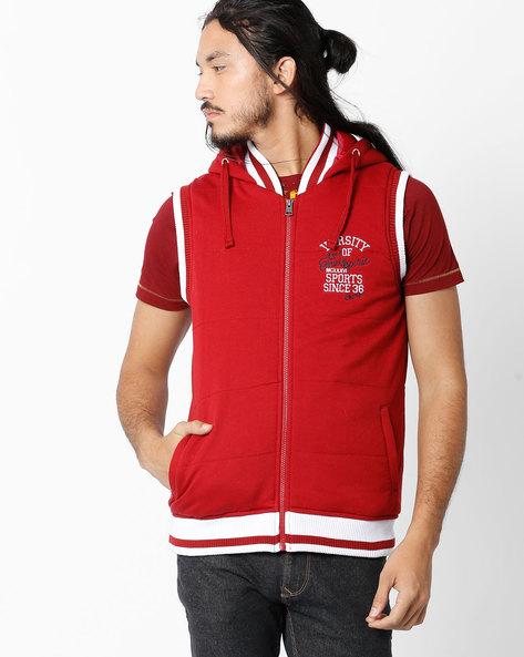 Sleeveless Hooded Jacket By TEAM SPIRIT ( Red )