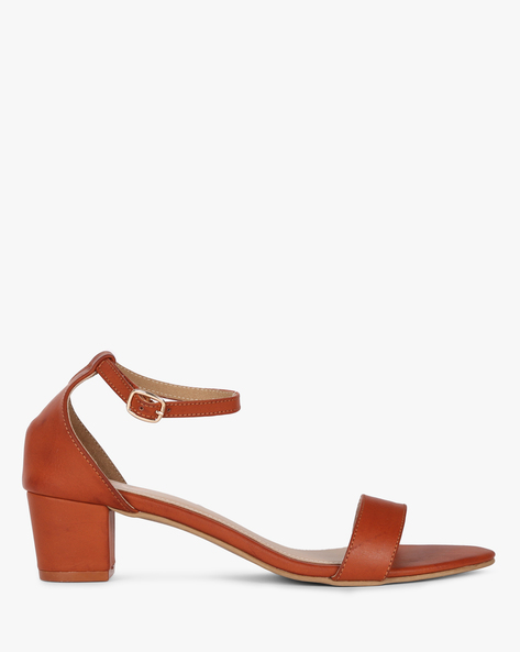 Block Heels With Buckle Closure By MUAZ ( Tan )