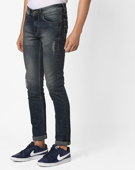 Distressed Skinny Jackson Jeans By FLYING MACHINE ( Blue )