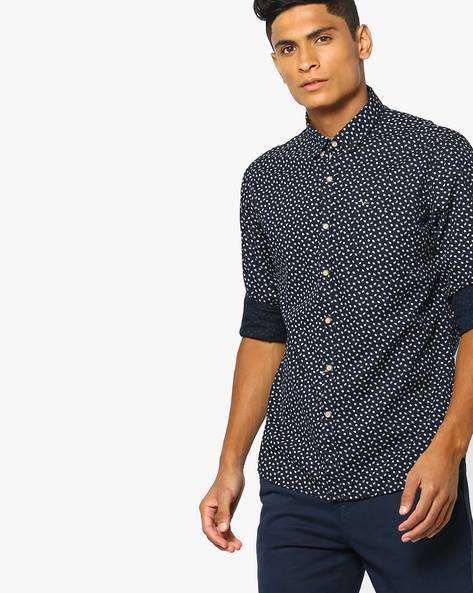 Leaf Print Shirt With Patch Pocket By FLYING MACHINE ( Navy )