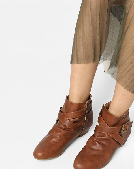 Genuine Leather Ankle-Length Boots By Carlton London ( Tan )