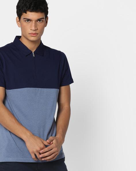 Colourblock Polo T-shirt With Zip Placket By AJIO ( Blue )