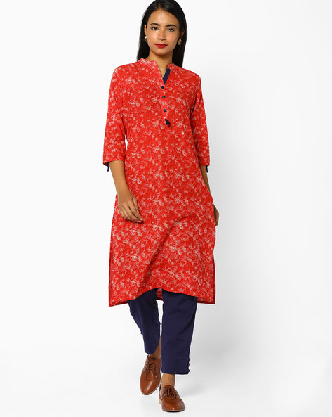 Printed Straight Kurta With Mandarin Collar By SOCH ( Red )
