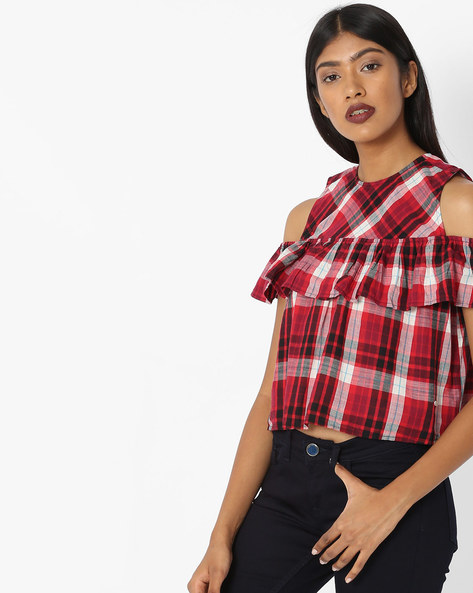 Checked Top With Cold-Shoulder Sleeves By Pepe Jeans ( Red )