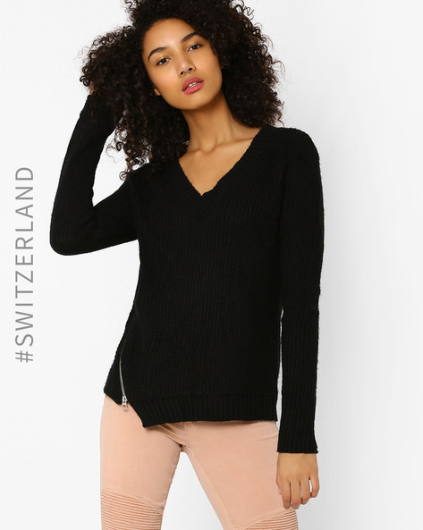 Ribbed Pullover With Zip Detail By TALLY WEiJL ( Black )