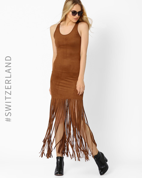 Bodycon Suede Dress With Tassels By TALLY WEiJL ( Tan )