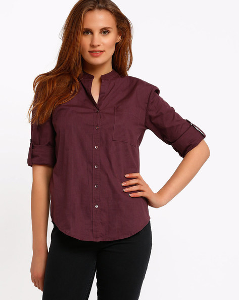 Shirt With Mandarin Collar By CHM ( Assorted )