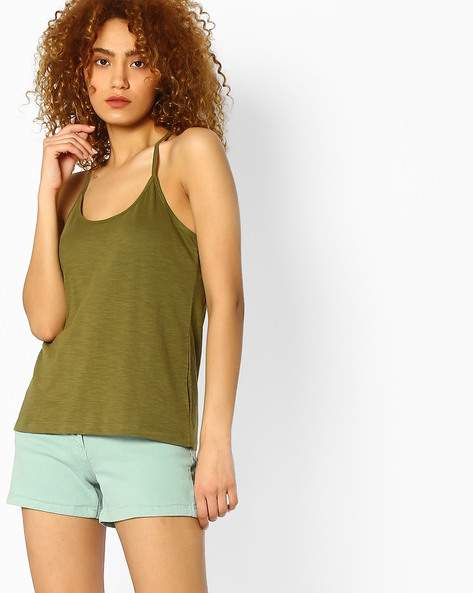 Spaghetti Cotton Top By Ginger By Lifestyle ( Olive )