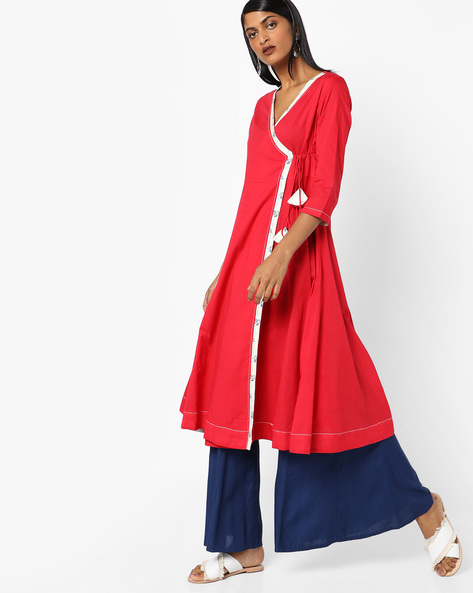 Angrakha Kurta With Tasselled Tie-Up By AJIO ( Red )