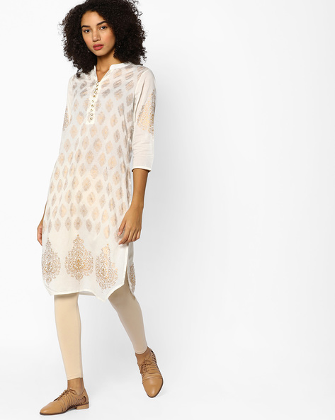 Printed Straight Kurta With Buttons By Melange By Lifestyle ( Offwhite )