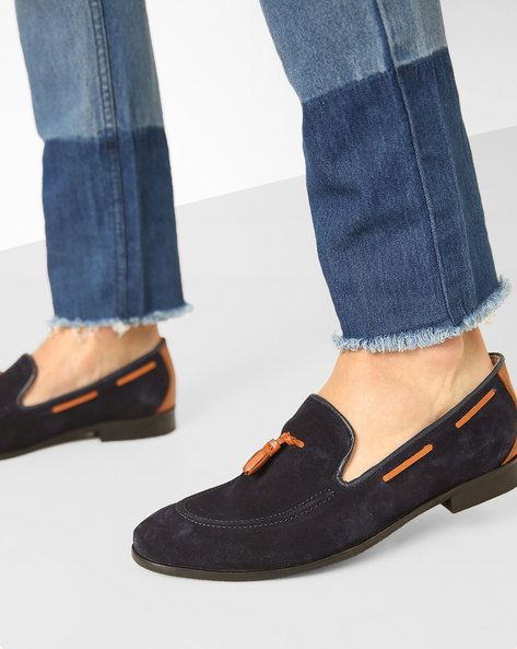 Genuine Leather N9-Treated Slip-ons With Tassels By AJIO ( Navy )