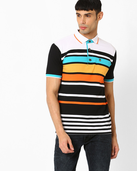 Striped Polo T-shirt By DUKE ( White ) - 440731888002