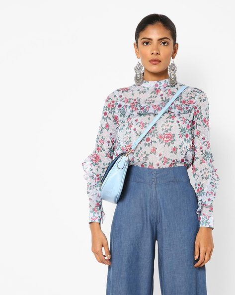 Floral Print Top With Ruffled Panels By AJIO ( Navy )