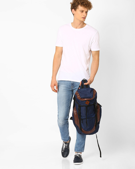 Travel Backpack With Flap Closure By AJIO ( Navy )