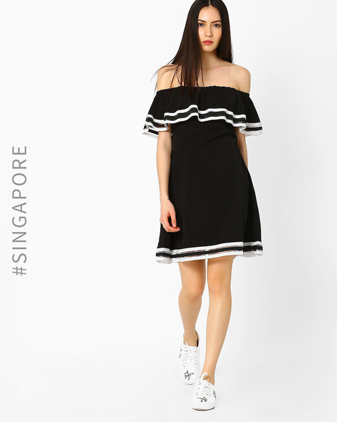 Off-Shoulder Skater Dress By MDS ( Black )