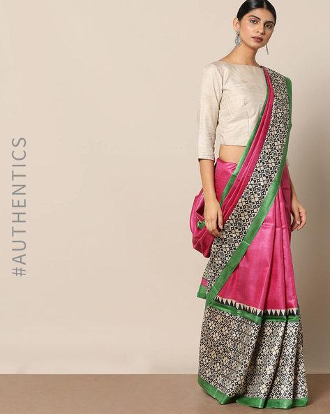 Handloom Pure Silk Tussar Printed Saree By Indie Picks ( Multi ) - 460147010001