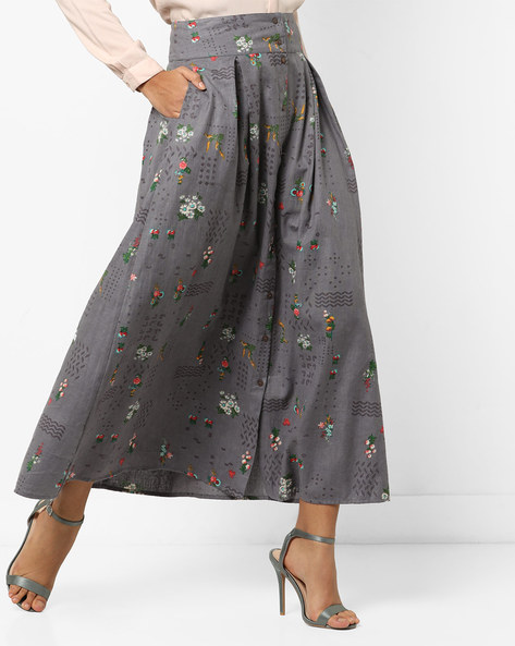 Printed Button-Down Maxi Skirt With Pleats By AJIO ( Grey )