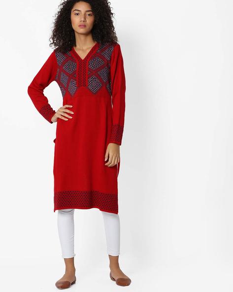 Printed Knitted Kurta By AVAASA MIX N' MATCH ( Red )