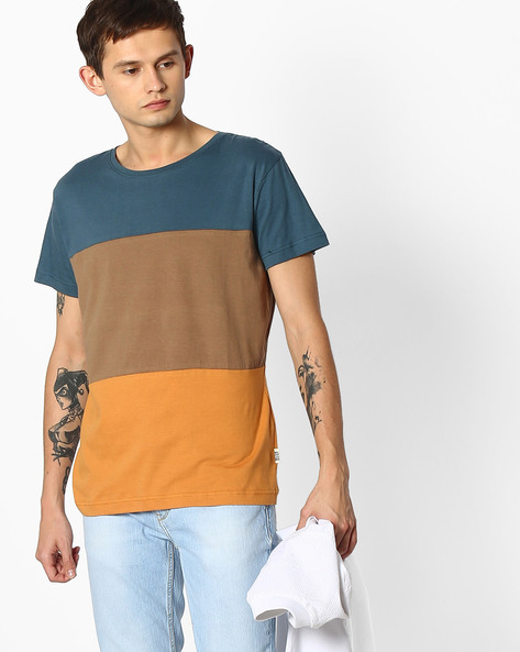 Cut & Sew Slim Fit T-shirt By Blue Saint ( Multicolor )