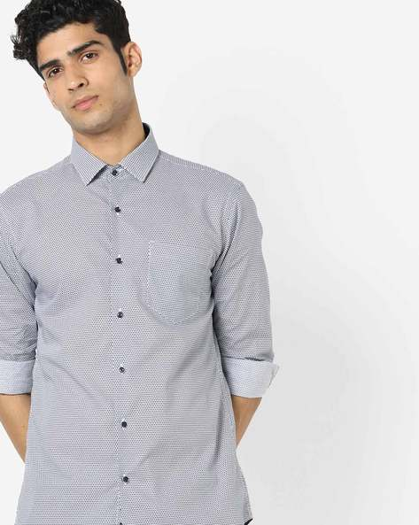 Printed Slim Fit Shirt With Patch Pocket By Black Coffee ( Multi )