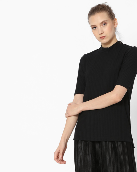 Striped Top With High-Low Hemline By Fame Forever By Lifestyle ( Black )