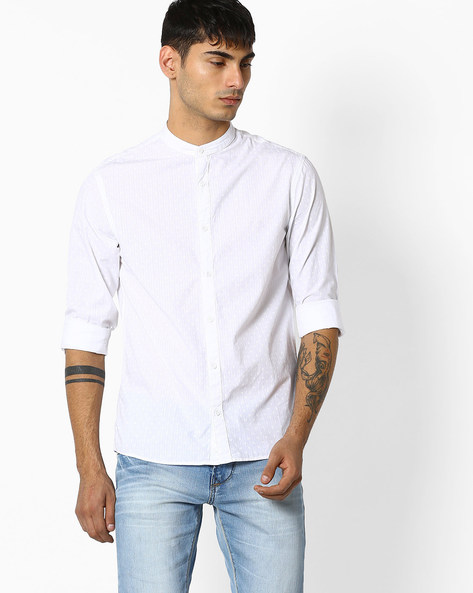 Slim Fit Shirt With Band Collar By Celio ( White )