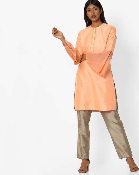 Straight Kurta With Bell Sleeves By Sassafras ( Peach )
