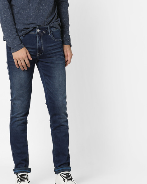 Mid-Wash Slim-Fit Jeans With Whiskers By RexStraut JEANS ( Lightblue )