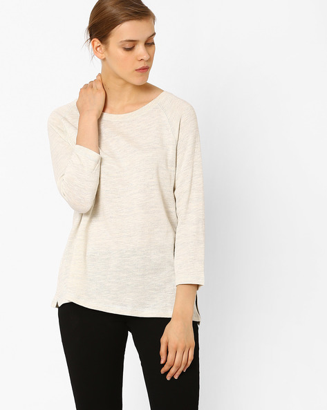 Textured T-shirt With Vented Hems By Marks & Spencer ( Cream )
