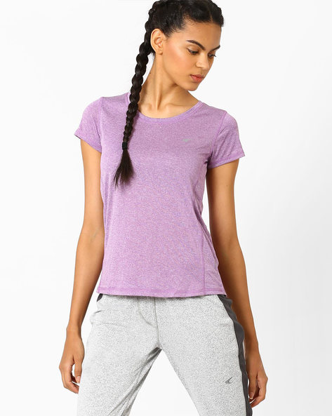 Fitness Cationic T-shirt With Quick Dry By PERFORMAX ( Purple )