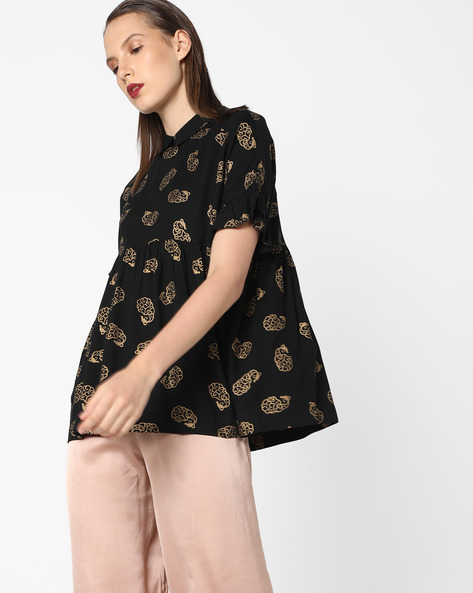 Printed Swing Top With Tie-Up By AJIO ( Black )