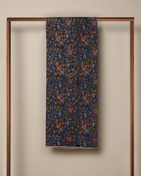 Printed Cotton Kalamkari Kurta Fabric By Indie Picks ( Blue )