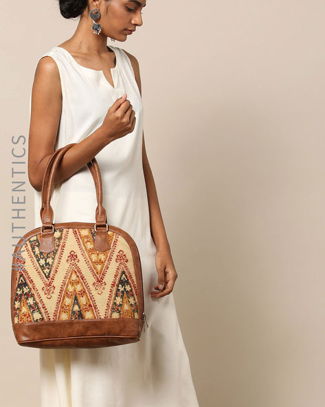 Handblock Kalamkari Kilim Vegan Leather Shoulder Bag By A BIG INDIAN STORY ( Tan )