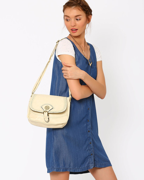 Faux Leather Sling Bag By Lino Perros ( Beige )