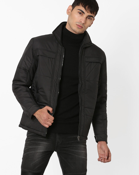 Regular Fit Quilted Jacket By Fort Collins ( Black ) - 460041135002