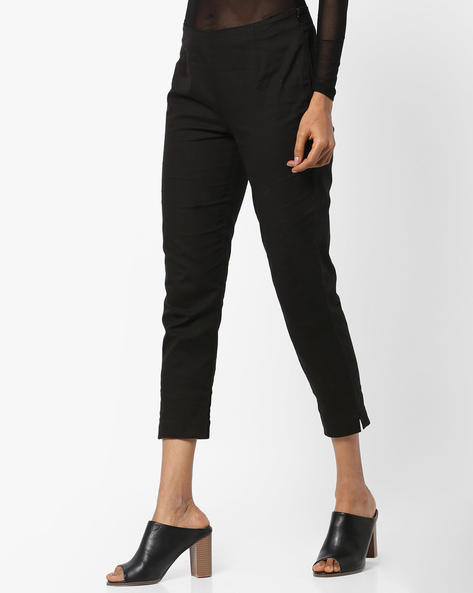 Slim Fit Flat-Front Trousers By W ( Black )