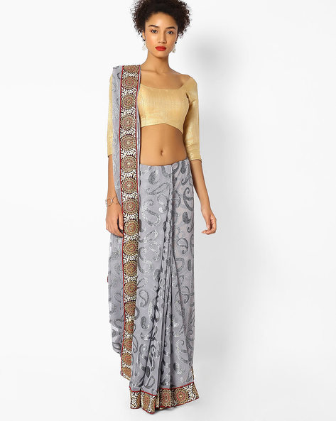 Woven Saree With Embroidered Border By Majestic Silk ( Grey )