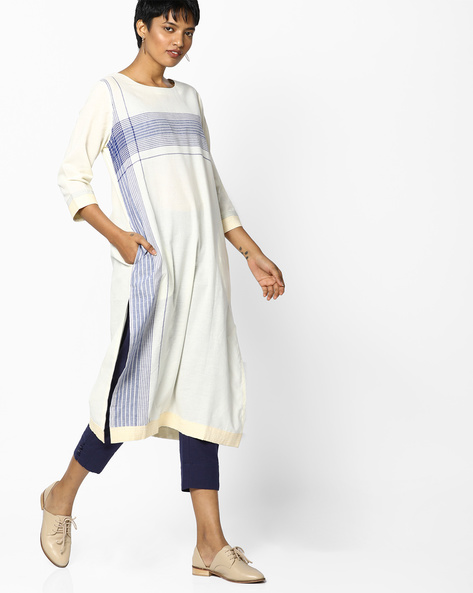 Straight Kurta With Stripes By PE IW Casual ( Offwhite )