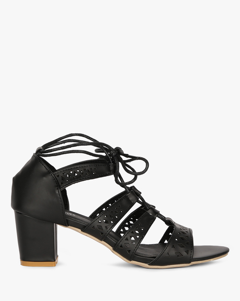 Heeled Sandals With Tie-Ups By MFT Couture ( Black )