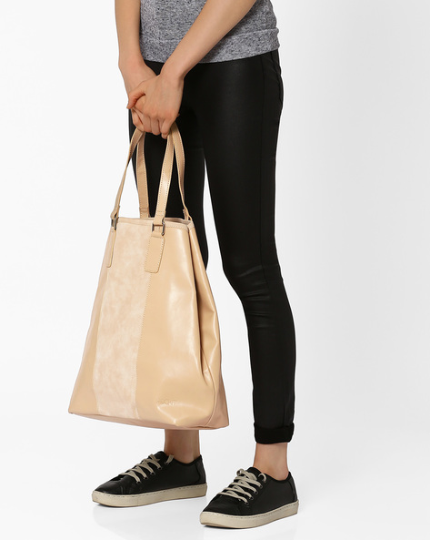 Panelled Tote Bag By Pockit ( Cream )
