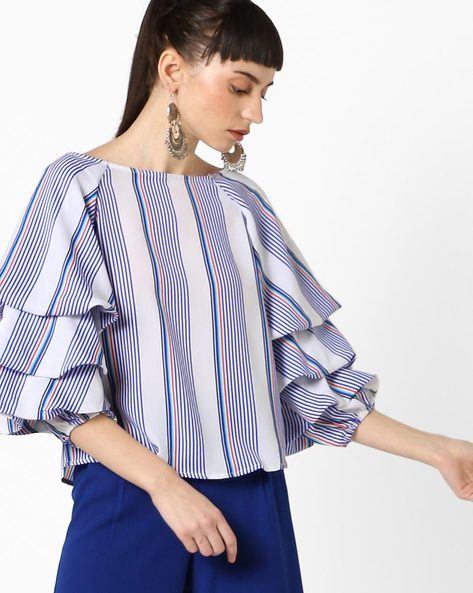 Striped Top With Layered Bishop Sleeves By Oxolloxo ( White )