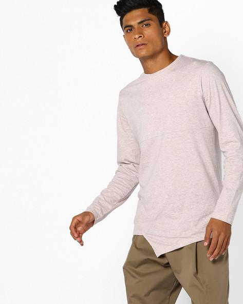 Crew-Neck T-shirt With Asymmetric Hem By AJIO ( Lightpink )