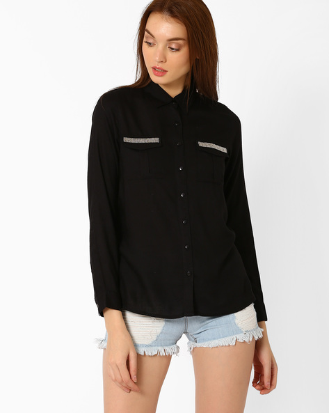 Relaxed Fit Shirt With Spread Collar By FIG ( Black )
