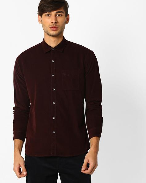 Regular Fit Cotton Shirt By NETPLAY ( Maroonburg )