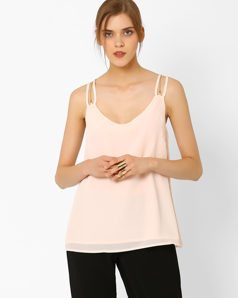 Solid Top With Straps By AJIO ( Nude )